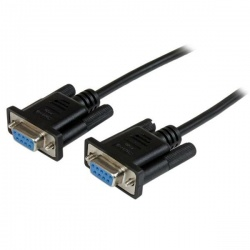 2m Black DB9 RS232 Serial Null Modem Cable F/F