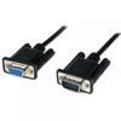 2m Black DB9 RS232 Serial Null Modem Cable F/M