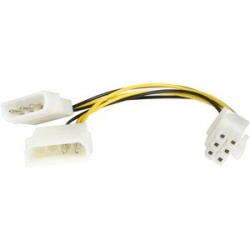 6in LP4 to 6 Pin PCI Express Video Card Power Cable Adapter - 6 pin internal power (M) - 4 pin ATX12V (M) - 15.2 cm - 6